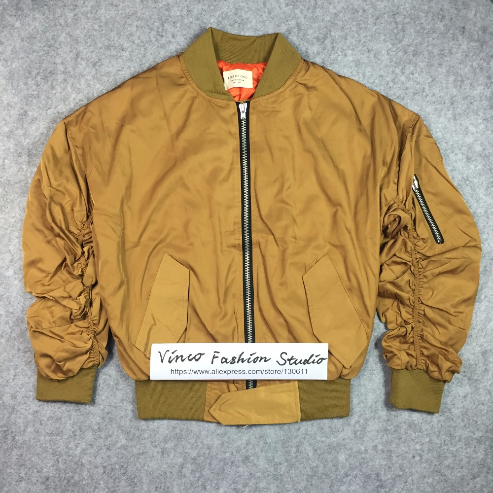 b19e8b18c43ba Best version fear of god Bomber Jacket fourth collection Justin Bieber  classic elastic sleeve winter men kanye west clothing-in Jackets from Men's  Clothing ...