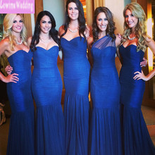 Royal Blue Bridesmaid Dresses Long Floor Two Style with Pleats Mermaid Party Dresses Maids of Honor Dresses