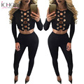 New Fashion high quality 2017 bodycon Jumpsuits  rompers full sleeve long rompers hollow out sexy rompers 2 piece set