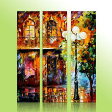 100% Hand Made Landscape City Night View Knife Modern Canvas Paintings For Living Room home Decoration 3 Piece Wall Art