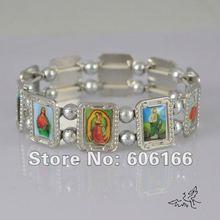 Сплав католические четки бусины браслет святых Иисуса ангела Девы Марии религиозные браслеты серебряный тон