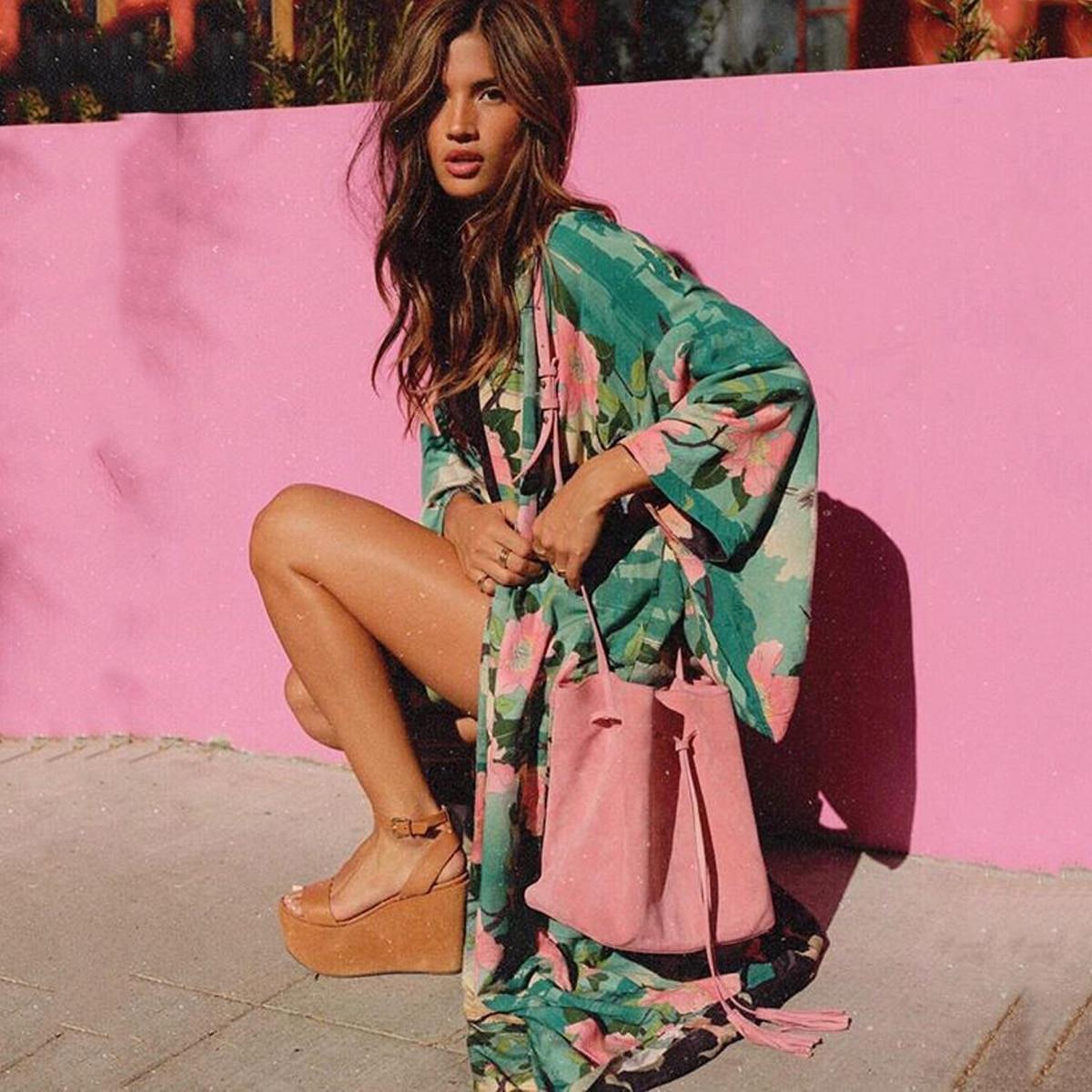 Jastie Green Floral Print Bird Women Jacket Cardigan Kimono Sleeve Loose Maxi Ki
