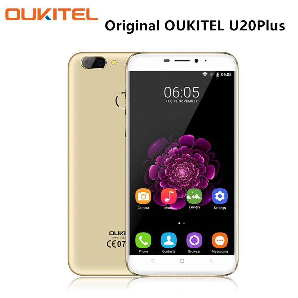 Цена за Oukitel u20 плюс двойная камера смартфон 5.5 дюймов ips экран android 6.0 quad core мобильный телефон 2 г ram 16rom отпечатков пальцев celulares