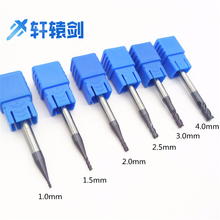 End mill 1mm 1.5mm 2mm 2.5mm 3mm 4mm HRC50 four-blade flat head tungsten steel cemented carbide end mill CNC milling cutter 1pc superior cemented tungsten carbide round slot mill cutter core box bit woodwork tool yhdx1 2x1