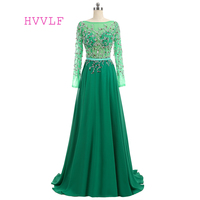 Luxurious Green Evening Dresses 2018 A Line Long Sleeves Chiffon Beaded Backless Long Evening Gown Prom
