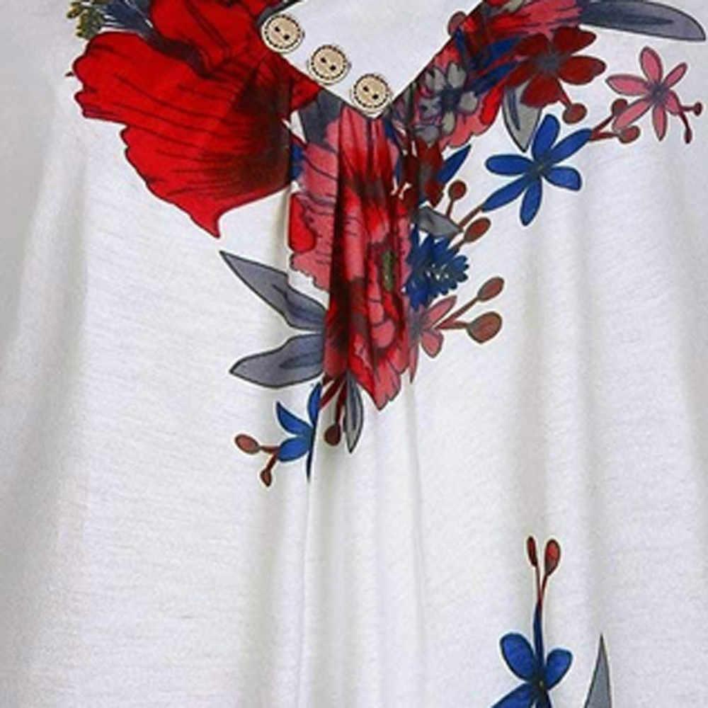 2019, женская футболка размера плюс, топы с длинным рукавом, с v-образным вырезом, на пуговицах, пуловер, свободный, темпераментный, Повседневный, с принтом, Женская толстовка из хлопка