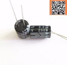 20pcs lot 250V 3 3UF 250V3 3UF aluminum electrolytic capacitor size 8 12