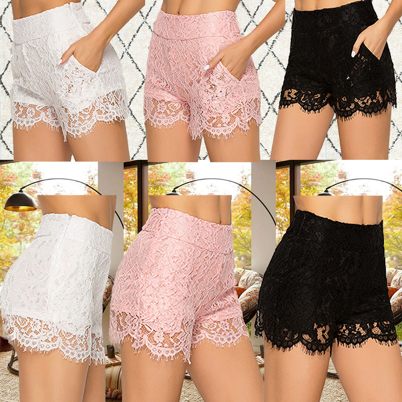 Women Sexy Fashion Pocket Lace Shorts Pocket Shorts Summer Hot Sale Thin Short Size S-2XL New Arrival Solid Color