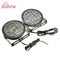 2Pcs 12V 18 LED Round Car Driving Daytime Running Light DRL Fog Lamp Bright White Car