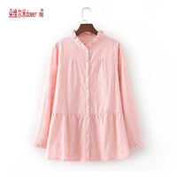 Pink Ethnic Flower Embroidery Blouse Women Long Sleeve V Neck Shirt Ladies