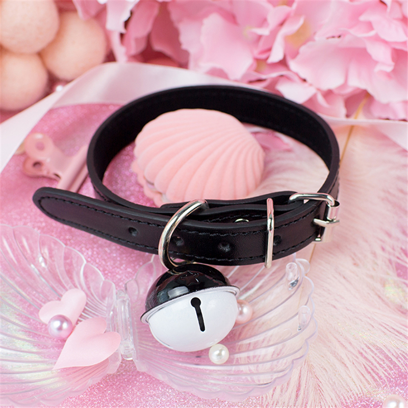 Sexy Harajuku Handmade Gothic Choker punk Leather Collar belt Necklace with bells sex toys for couple lovely collar