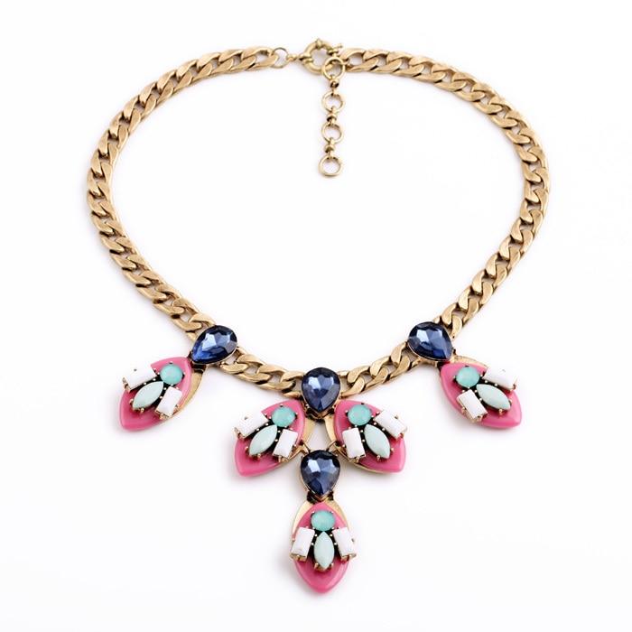 Женское модное ювелирное изделие, дизайн, Розовая Смола, камень, подвески, массивное ожерелье - Окраска металла: pin necklace