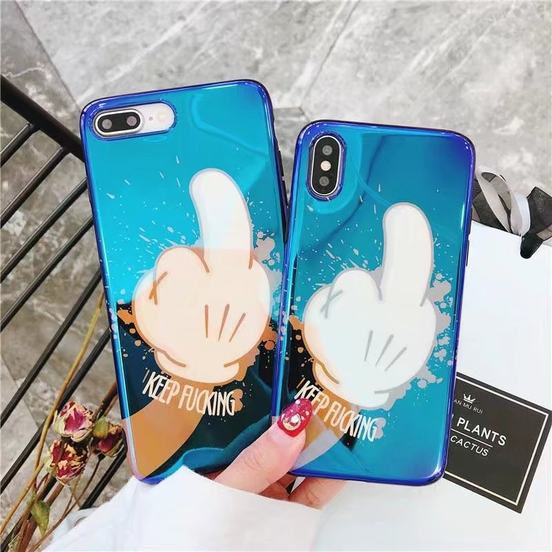 Blue Light Ray Phone Case For iPhone 6 6S 7 7plus 8 Plus X Soft Tpu Laser Blu-Ray Cell Phone Shell Cover Coque