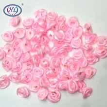 HL 100pcs Handmade Pink Ribbon Rose Flowers Wedding Decoration DIY Crafts Apparel Accessories Sewing Appliques 15MM A660(China)