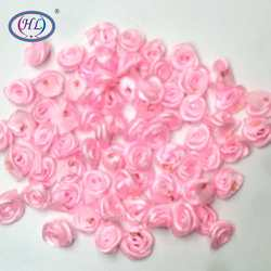 HL 100pcs Handmade Pink Ribbon Rose Flowers Wedding Decoration DIY Crafts Apparel Accessories Sewing Appliques 15MM A660