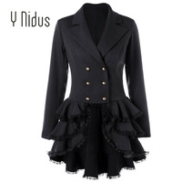Trench Coat Women's Aaymmetric Lace Hem Tops Steampunk Victorian Swallow Tail Trench Coat Double Breasted Female Thin Outwear