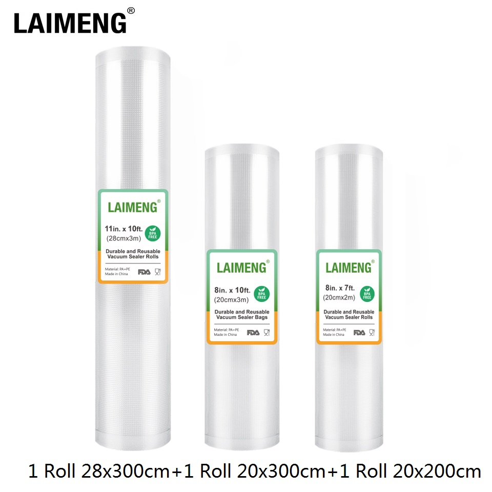 LAIMENG Vacuum Bags For Vacuum Packing Machine Storage Bags 3 Rolls/Lot Sous Vide For Vacuum Packaging Sealing Machine R132