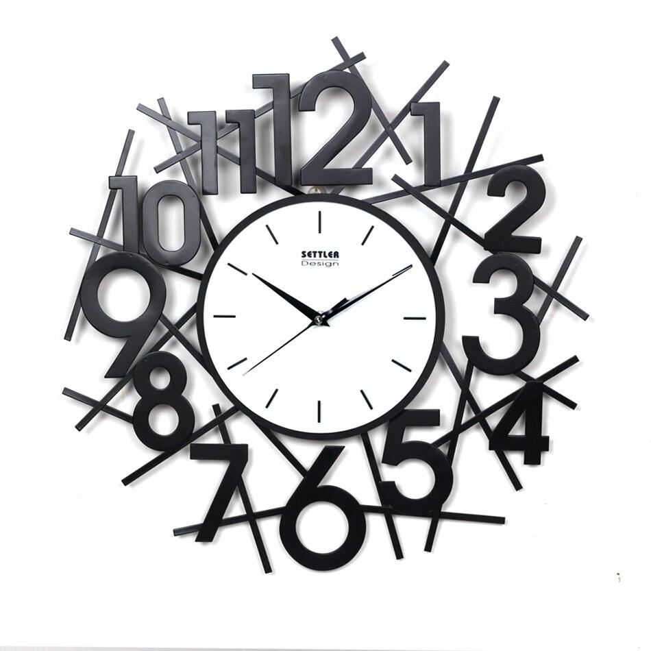 16 pouces en métal étude chambre horloge murale enfants enfant chambre mignon horloge murale maison décorative mode lit chambre fer mur montre