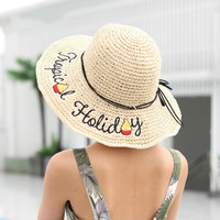 Maylisacc 2019 Women Straw Hat Summer Handmade Crochet Ladies Straw Hat Summer Hollow Sun Cap Can Be Folded Beach Hat