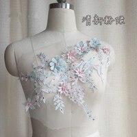 Розовая фиолетовая светло-голубая серая блестящая 3D гипюровая вышивка аппликация африканская кружевная фатиновая ткань шитье на платье од...