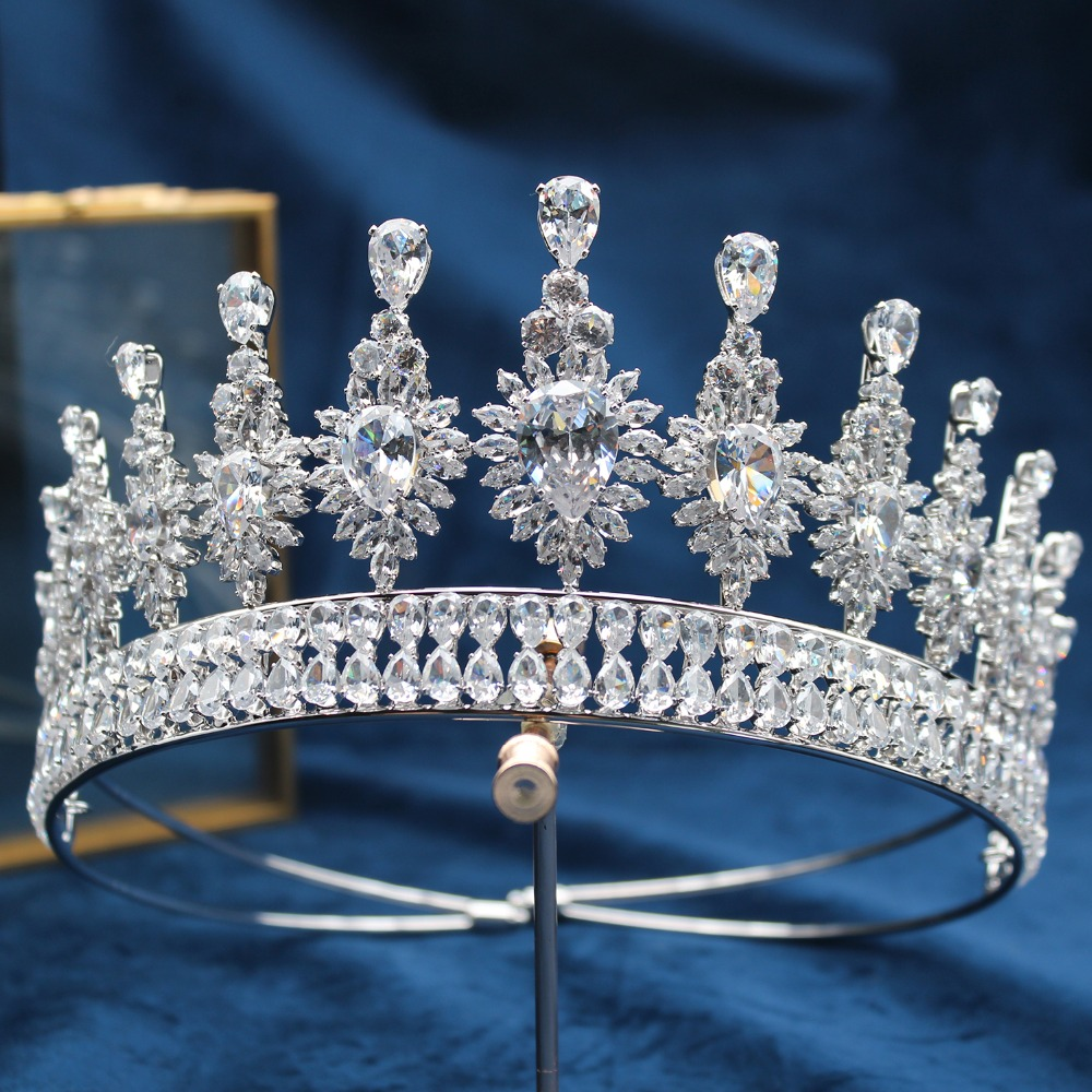 Parmalambe Silver Shining Zircon Jewelry Hair Tiaras Handmade Bridal Crown High Quality Wedding Hair Accessories coroa