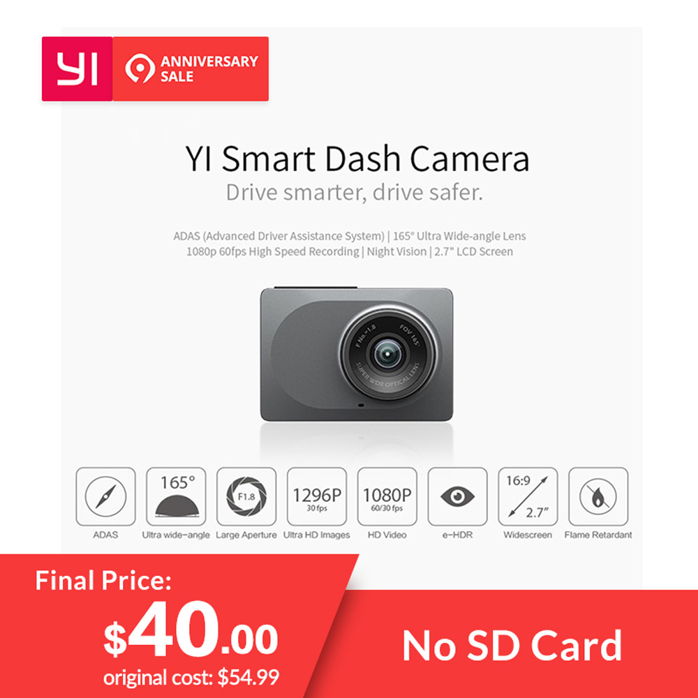 YI Smart Dash Camera Video Recorder WiFi Full HD Car DVR Cam Night Vision 1080P 2.7″ 165 Degree 60fps Camera For Car Recording