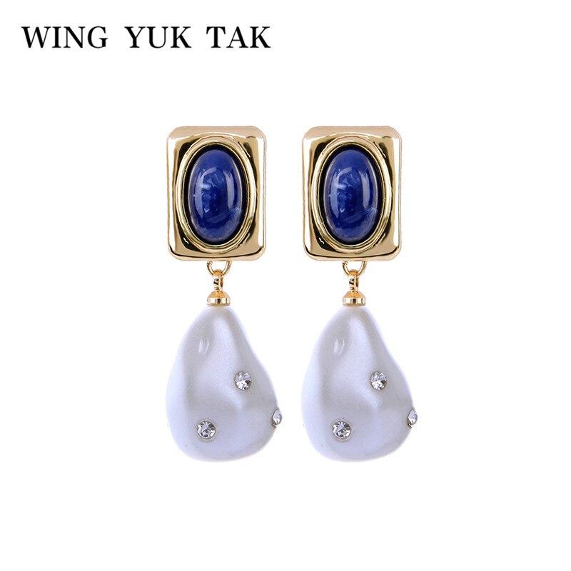 058aaac065c7 Ala yuk tak moda Vintage perla simulada pendientes para las mujeres  geométrico azul pendientes Brincos Bijoux joyería de regalo
