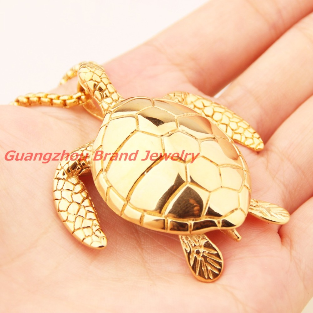 High quality polishing gold color sea turtle pendant 316l stainless high quality polishing gold color sea turtle pendant 316l stainless steel cool mens necklace free 60cm box chain top design in pendants from jewelry aloadofball Image collections