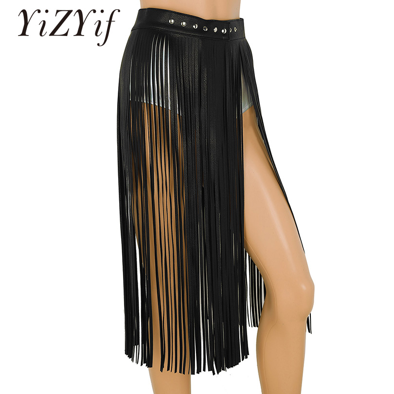 4a252acfb YiZYiF mujeres Sexy borla faldas Goth Boho Hippie cintura larga franja de  cuero negro falda de ...