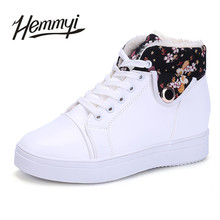 Hemmyi 2017 Winter New Fashion Women Shoes Keep Warm Add Wool White Black Pink Lace-up Lady's Footwear Chaussures Femme botas