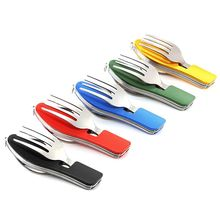 Portable Multi Function 3 in 1 Stainless Steel Folding Spoon Fork Knife Tableware for Outdoor Camping