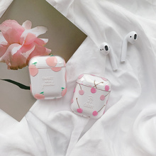 Pink Honey peaches Hard PC Crystal Cover Bag For Airpods Cases Transparent Cherry Earphone Case for Apple AirPods Headphone Box