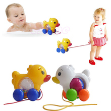 Traditional Pull Along Duck Plastic Toddler Kids Baby Learn Walk Toy Fun