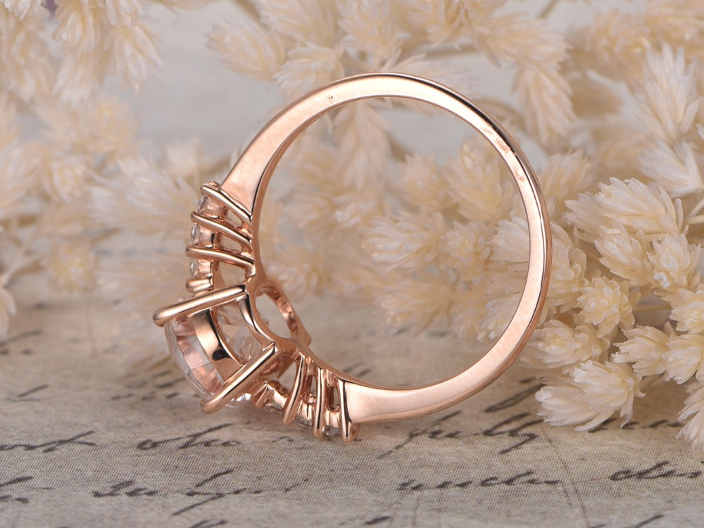 MYRAY Natural Oval Pink Morganite 14k Rose Gold Diamond Engagement Ring Wedding Anniversary Rings Gift Vintage for Women Jewelry