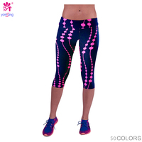 2016 New Women Sports Leggings Capris Fitness Running Gym Elastic Slim Pants Cropped Leggings Summer Mid