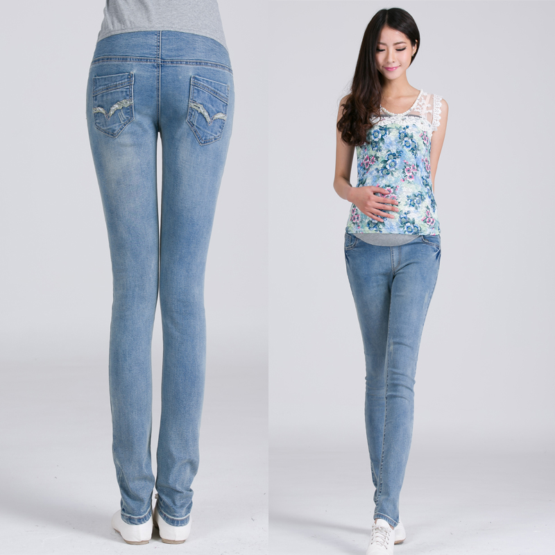 цены Autumn Maternity Clothes Elastic Waist Pants Jeans Woman Trousers Pregnant Pregnancy Clothes Adjustable Denim Jeans Plus Size