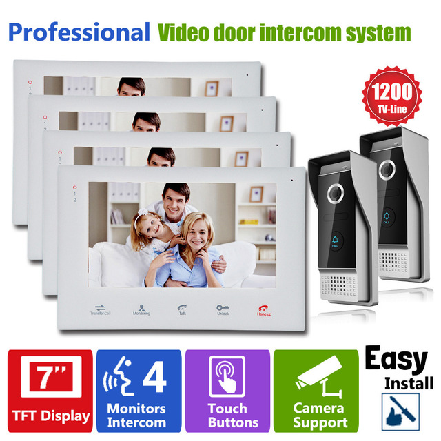 "Homefong Video Door Intercom Camera DIY 7"" Touch Screen Monitor  Video Phone Intercom Doorbell Different Door Chimes Night  View"