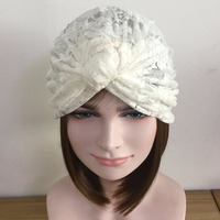 New Arrival Hand Made Unique Design White Lace Soft Turban Elastic Bow Ttie India Beret Hat