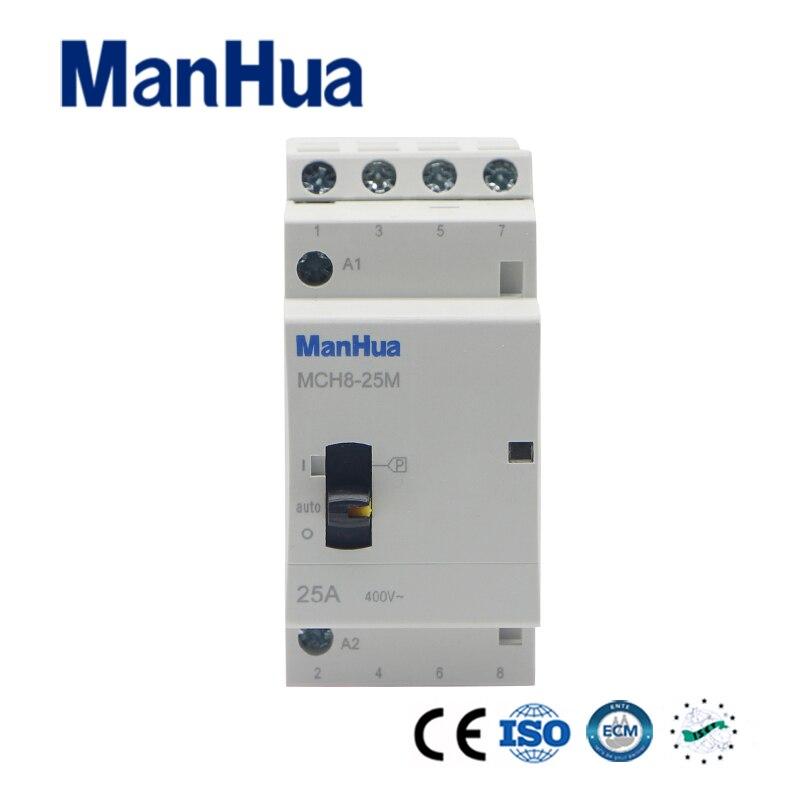 ManHua 4P 25A 400V Household Electric AC Contactor MCH8-25M Elevator Modular Contactor