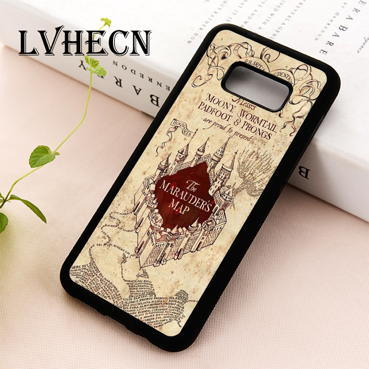 LvheCn TPU Skin phone <font><b>case</b></font> cover for Samsung Galaxy S5 S6 S7 S8 S9 S10 EDGE PLUS S10e Note 5 <font><b>8</b></font> 9 <font><b>Harry</b></font> <font><b>Potter</b></font> Marauder's Map image