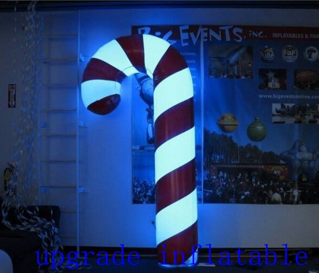popular christmas decoration inflatable candy cane with led lights for outdoor christmas display