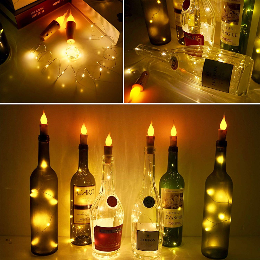 20 LED Candle Silver Wire Fairy Garland Bottle Stopper For Glass Craft LED String Lights Wedding Christmas Holiday Decoration