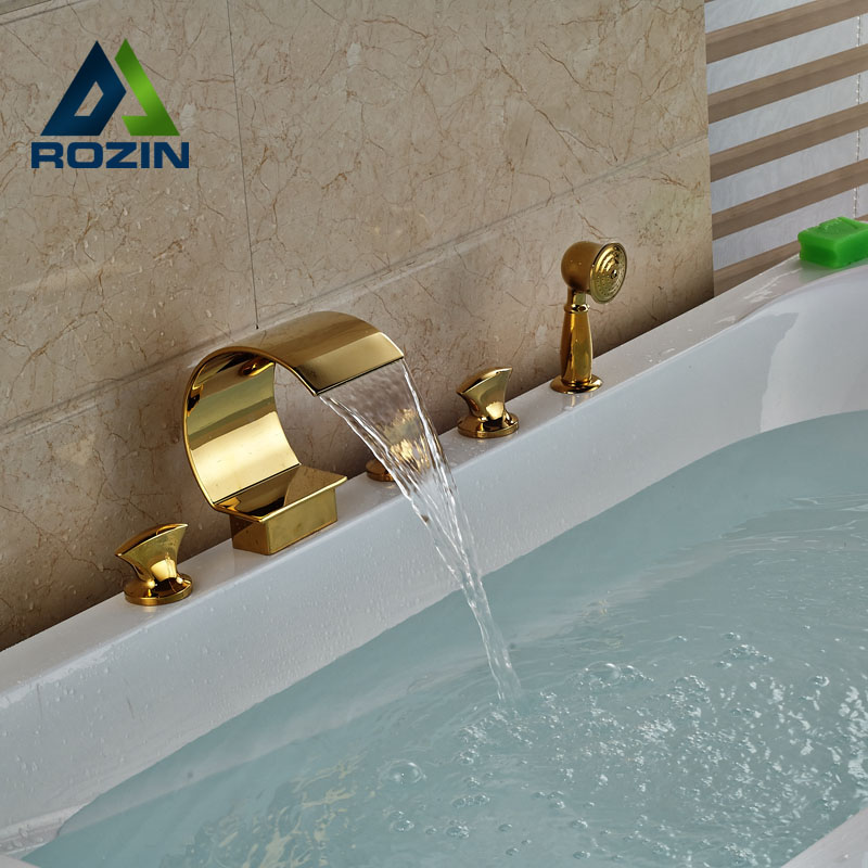 Golden Big Waterfall Spout Deck Mount Bathtub Faucet with Handheld Shower Widespread Tub Filler