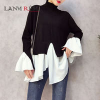 LANMREM 2018 New Pattern O Neck Flare Sleeve Irregular Knitting Pullover Solid Color Fake Two Pieces
