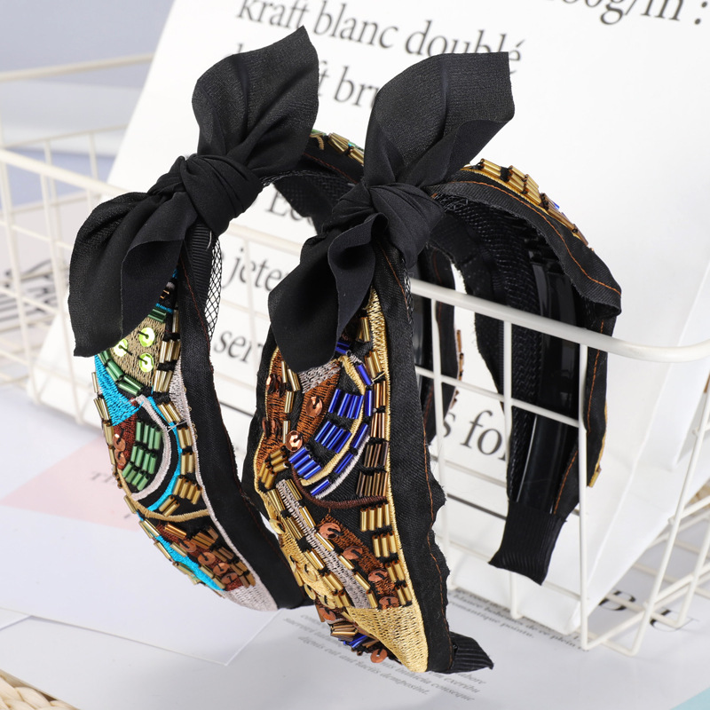 Embroidery Pearl Crystal Knot Headbands For Women Flower Hairbands Korea Hair Accessories Hair Bands For Women Flower Head Wrap in Women 39 s Hair Accessories from Apparel Accessories