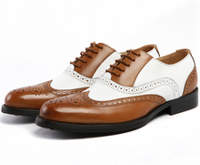 Large size EUR45 black white / brown white mens wedding shoes genuine leather dress shoes formal oxfords shoes