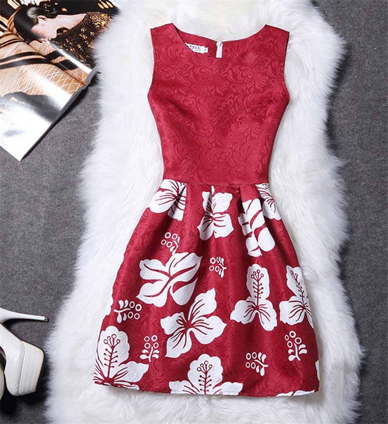 Femme fashion sweet Ball Gown party dress Women,Printed vest sleeveless dress tutu summer style bottoming,summer dress TT818 2