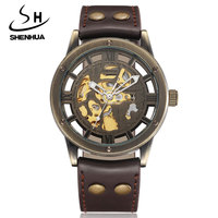 Vintage Bronze Men Wristwatches Skeleton Clock Male Leather Strap Antique Steampunk Casual Automatic Skeleton Mechanical Watches