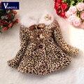 Niñas abrigo de invierno los niños outwear leopard faux fur coat chaquetas de otoño para niñas ropa casual bebé lana gruesa ropa de abrigo
