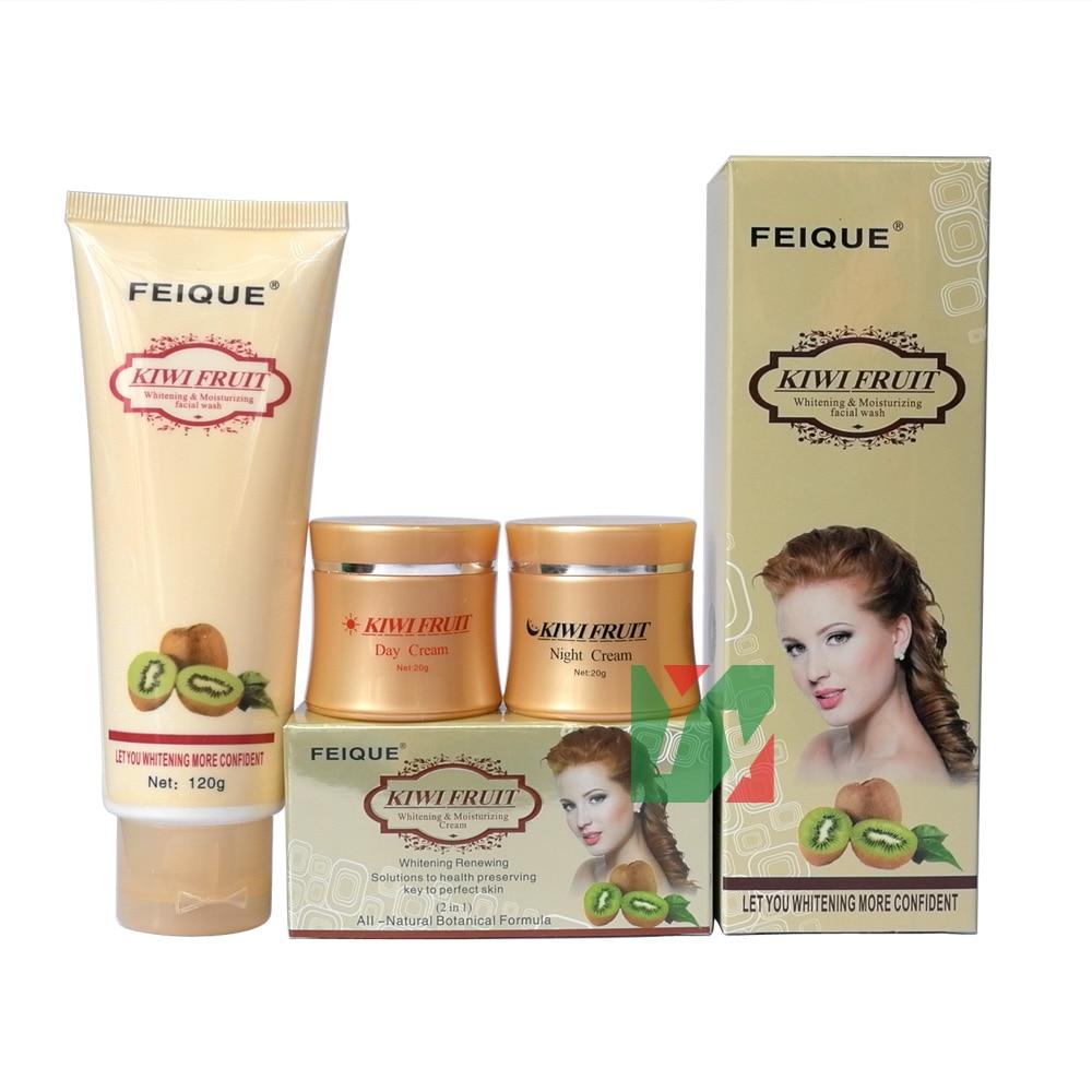 kiwi fruit whitening anti freckle natural botanical formula day cream+ningt + cleanser